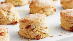These scones are crisp and golden with a light, flaky interior. The fruit offers a slightly chewy contrast. Orange zest and Grand Marnier flavor the scones. Serve them with butter and tea. Raisin Scones, Orange Scones, Candied Orange Peel, Cream Scones, Golden Raisins, Baking Recipes, Yummy Recipes, Scone Recipes, Irish Recipes