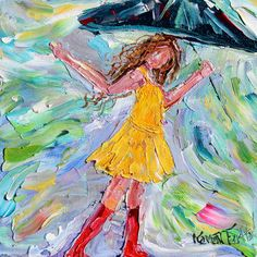 Original Rain Dance Red Boots palette knife by Karensfineart