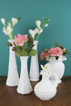 Vintage White Milk Glass Hobnail Vases on @etsy #milkglass #vintagevases