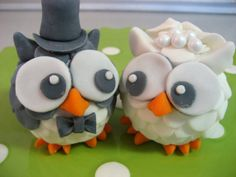 OWL Bride and Groom Wedding Cake Topper  Fondant by Devany on Etsy, $60.00