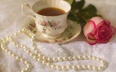 Обои чашка, чашка, чай, пить, роза, жемчуг, роза, чай