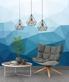 Abstract Blue Mural Soft Geometric Modern Template for Cafe Restaurant Decoration Living Room Bedroom Children Room Wallpaper Wall Covering by wallpaew on Etsy Modern Wallpaper, Room Wallpaper, Living Room Paint, Living Room Decor, Geometric Wall Paint, Wall Paint Patterns, Room Wall Painting, Creative Wall Painting, Room Art