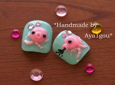 Octopus nails kawaii nails toe nails  3D nails Japanese by Aya1gou, $8.00