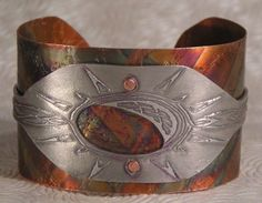 Blazing Sun Solid Copper and Aluminum Etched, Hand Forged Bracelet | FunkyTwistJewelry - Jewelry on ArtFire