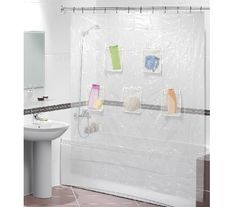 Clear Shower Curtain With Mesh Pockets