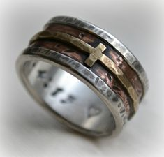 mens wedding band rustic fine silver copper and by MaggiDesigns