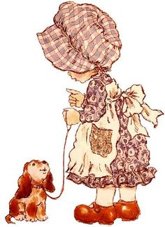 country girl and her dog Sarah Key, Holly Hobbie, Heart Illustration, Illustrations, Vintage Cards, Vintage Children, Childhood Memories, Embroidery Patterns, Decoupage