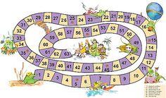 La Oca de las Matemáticas. Juego de Mesa para Practicar las Tablas de Multiplicar. Juego para aprender las Tablas de Multiplicar para niños y niñas. Esta es una variación del Juego de la Oca para niños, llamada el Juego del Yacaré. Juego de Mesa Casero para hacer. Board Game Themes, Printable Board Games, Creative Kids, Creative Crafts, Math Games, Games To Play, English Exercises, Spanish Teacher, School Games