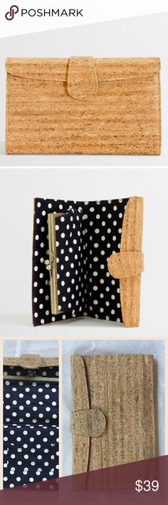 """J Crew Factory Cork Clutch Beautiful cork clutch from J Crew Factory. Featuring Navy and white Polka Dot lining, this clutch has a snap closure. 5.5"""" H; 9"""" W; 0.5"""" D. EUC J. Crew Factory Bags Clutches & Wristlets"""