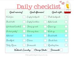 Raising Up Rubies daily checklist
