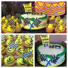 NASCAR themed cake and matching NASCAR cupcakes