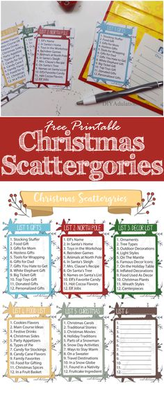 Free Printable Christmas Scattergories Game – DIY Adulation Start a new holiday tradition with your family and friends this year. This free printable Christmas Scattergories game is perfect for a festive fun night! Xmas Games, Holiday Games, Holiday Fun, Free Christmas Games, Christmas Games For Family, Christmas Activities For Families, Family Christmas Party Games, Christmas Activites, Fun Games