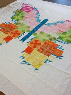 Tula Pink butterfly quilt quilted by Judi Madsen