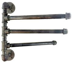 Urban Industrial Decor 3 Bar Swing Bathroom Pipe Towel Rack Bars, Standard) ~ Industrial Home Decor ~ Olivia Decor - decor for your home and office. Urban Industrial, Industrial Bathroom, Industrial House, Rustic Industrial, Bathroom Plumbing, Industrial Stairs, Industrial Windows, Industrial Restaurant, Industrial Office