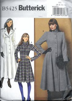 Butterick 5425 Fitted Flared Coat Princess by VintagePatternStore