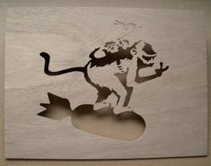 Banksy Monkey Riding Bomb Wooden Stencil by existencil on Etsy