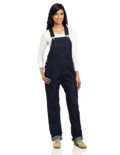 Dickies Women's Denim Bib Overall, Blue Denim, X-Small