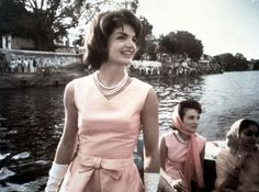 Jacqueline Kennedy and her sister, Lee Radziwill, during a daytime boat ride on Lake Pichola, Udaipur, India, in 1962.
