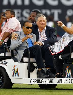 MIAMI, FL - APRIL 04: Boxing legend Muhammed Ali rides with Miami Marlins owner Jeffery Loria during Opening Day against the St. Louis Cardinals at Marlins Park on April 4, 2012 in Miami, Florida. (Photo by Mike Ehrmann/Getty Images