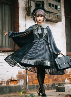 Fantastic Wind -The Striped Sailor- Sailor Lolita OP Dress, JSK and Match Cape,Lolita Dresses, Moda Fashion, Cute Fashion, Vintage Fashion, Fashion Outfits, Mode Collage, Beautiful Outfits, Cool Outfits, Mode Lolita, Lolita Cosplay