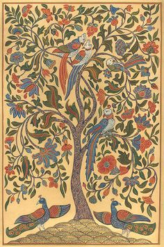 folk art tree of life - Bing Images Tree Of Life Painting, Tree Of Life Art, Tree Art, Art Life, Madhubani Art, Madhubani Painting, Kalamkari Painting, Frida Art, Indian Folk Art
