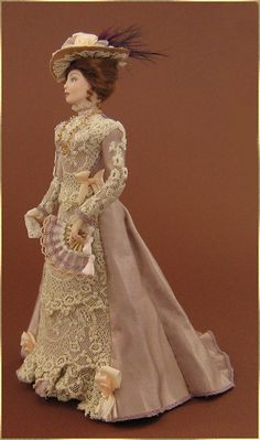 I don't think a have a pin on this board with Barbie dressed like this.  I adore it. Barbie Dress, Barbie Clothes, Doll Dresses, Dollhouse Dolls, Miniature Dolls, Pretty Dolls, Beautiful Dolls, Manequin, Edwardian Dress