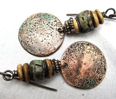 Ghost Town... dangle beaded earrings tribal rustic by beatnheart