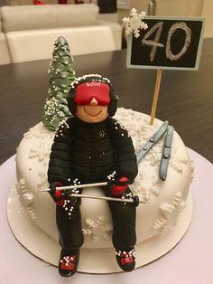 Skier chocolate cake