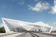 Por Santiago calatrava, posee un techo inclinado en diferentes direcciones y un estructura abierta que permite la entrada y salida facilmente.