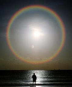 rainbow ring around the sun & moon