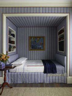 architect design™: A House in the Country: Peter Pennoyer & Katie Ridder. One of the children's bedrooms features a built-in bed nook, modeled on Thomas Jefferson's at Monticello, which Katie decorated with striped fabric and red tape. Alcove Bed, Bed Nook, Bedroom Nook, Bedroom Decor, Blue Bedroom, Kids Bedroom, Bedroom Ideas, Interior Design Instagram, Sleeping Nook