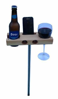 The Beverage Dock - perfect for a gift. Smartphone Dock/Speaker and Wine Glass, Beer Bottle, Cup holder. works with iphone and iphone Wine Glass Holder, Bottle Holders, Wood Projects, Woodworking Projects, Outdoor Projects, Smartphone, Drink Holder, Glass Bottles, Beer Bottle