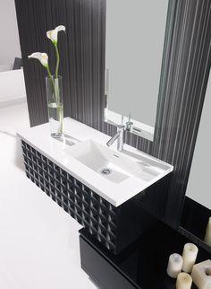 Greeploos meubel, leverbaar met enkele wasbak #exclusief #capiton #badkamer