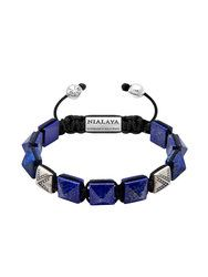 Himalaya Collection With Silver & Blue Lapis Bracelets For Men, Beaded Bracelets, Pyramid Collection, Bracelet Designs, Silver Beads, Precious Metals, Rose Gold, Diamond, Leather