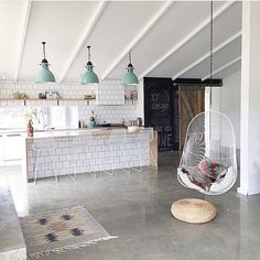 Lights - Hanging chair and white tile