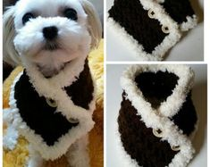 This scarf is great for any small dog. Its stretchy pattern.  This is suggested for the following toy breeds: Chihuahua, Yorkie, Poodle, Pomeranian, Mini Pin, all other small breeds  Hand crocheted with 100 % Acrylic yarn.  Size : XS : 2 high x 8~9 around neck  S/M : 3 high x 9~11 around neck  L/XL : 3 high x 11~13 around neck  2XL/3XL : 4 high x 13~ 15 around neck   Hand wash cool and lay flat to dry.