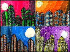 Art. Eat. Tie Dye. Repeat.: Complement Color Cityscapes Art Journal Pages, Art Journals, Third Grade Art, Primary School Art, Drawing, Middle School Art Projects, Teaching Art, Teaching Colors, Art Lessons Elementary