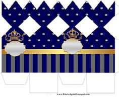 Golden Crown in Blue and Diamonds: Free Printable Boxes for Wedding Souvenirs. Box Templates Printable Free, Paper Box Tutorial, Cumpleaños Shabby Chic, Royal Invitation, Baby Congratulations Card, Eid Crafts, Prince Party, Royal Baby Showers, Christmas Favors