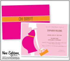 Oh Baby! Trendy Pregnant Girl Silhouette. Pink & Orange #BabyShower Invitation by NineEighteen, Custom Printable PDF Invitations, set the tone for your perfect event! Visit my Etsy store @ NineEighteen