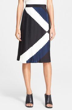 Tibi Maritime Pleated Skirt