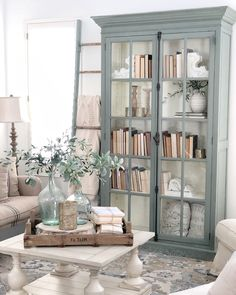 39 rustic farmhouse living room design and decor ideas for your home 13 – Hazir Site Home Living Room, Living Room Designs, Bookcase In Living Room, Cottage Living Room Decor, Living Room Hutch, Living Room Cabinets, Living Area, Earth Tone Living Room Decor, Living Spaces Furniture