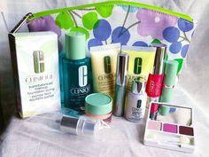 11 Piece Clinique Lot Chubby Lipstick Mascara Lotion Repairwear Makeup Bag GWP #Clinique