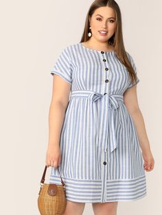 To find out about the Plus Button Front Striped Belted Dress at SHEIN, part of our latest Plus Size Dresses ready to shop online today! Short African Dresses, Latest African Fashion Dresses, Girls Fashion Clothes, Fashion Outfits, Clothes For Women, Plus Size Dresses, Plus Size Outfits, Plus Size Shirt Dress, Looks Plus Size