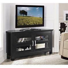 Walker Edison Furniture Company Cordoba Traditional Brown Corner Storage Entertainment Center – The Home Depot – dekoration Tv Stand Black Wood, Black Corner Tv Stand, Corner Tv Stands, Cool Tv Stands, Corner Tv Console, Tv Stand Console, Center Console, Console Table, Black Entertainment Centers