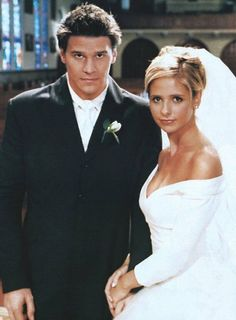 Unfortunately, the closest we ever get to Buffy (Sarah Michelle Gellar) and Angel (David Boreanaz) getting hitched is in a wild dream sequence.  Photo courtesy of The CW