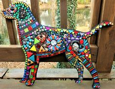 Custom mosaic dog created by Tina @ Wise Crackin' Mosaics
