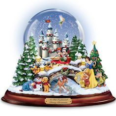 Disney-Christmas-Snowglobe-Musical-13-Characters-Mickey-Minnie-Holiday-Decor-New