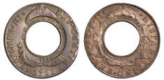 In 1812, the Governor of Australia solved the colony's currency crisis by importing 40,000 Spanish Silver Dollars.  To stop the coins disappearing into traders' pockets, he had them punched-out and re-stamped, making them useless outside Australia. In the process, each dollar became two coins: the large donut-like outer ring, and the punched-out inner disc.  The newly created ring was re-stamped with a value of five shillings.  This became the 1813 Holey Dollar.