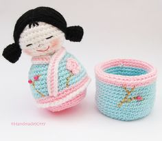Japanese kokeshi girls jewelry box Amigurumi Crochet Pattern ♥ by HandmadeKitty=^_^=, via Flickr