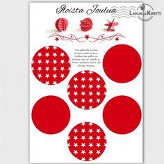 Joulukortti - askartelu - koriste - joulupallo -  Tästä kortista voi halutessaan askarrella joulukoristeen!